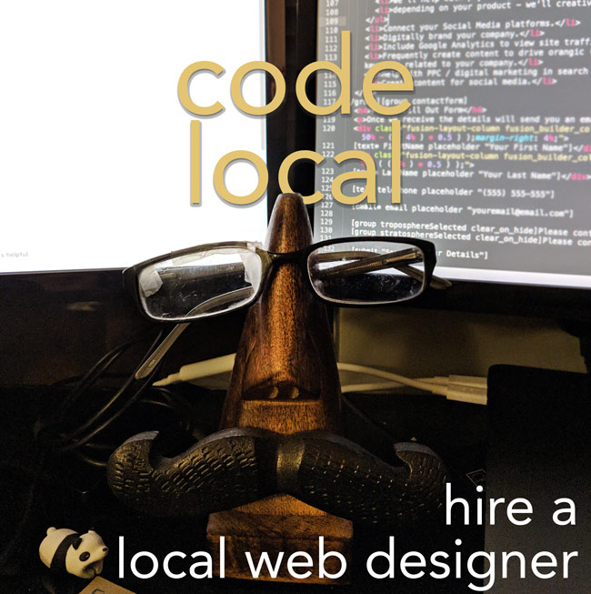 two screens in background, in forefront is a eye glass holder that is shaped as nose and underneath nose is a moustache with words written hire a local web designer and code local