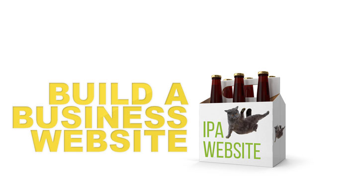 Build a website are written with image of a six pack of beer to right of words. on six pack is the words IP website and has an image a floating cat.